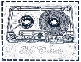 My Cassette, 2009; Linoleum block print