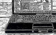 Laptop, 2009; Linoleum block print