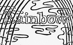 Rainbow, Tibetan, 2011; Linoleum block print, coloring book page