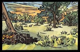 Lost Gold; 2008, Linoleum block print and watercolor