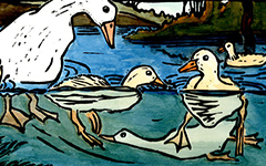 From The Duck that Said Moo, 1998; Linoleum block print and watercolor