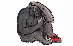 El Zapato del Gorila - Title Page, 1999; Linoleum block print and watercolor