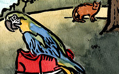 From El Zapato del Gorila, 1999; Linoleum block print and watercolor