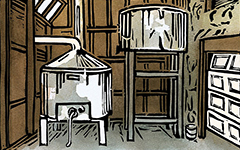 Real Ale Brewing Company, Brewhouse Brown, 1999; Linoleum block print and watercolor