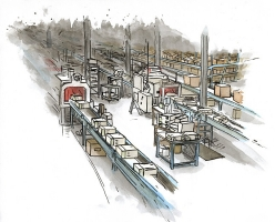 Assembly Line Computer, 2009; Ink and watercolor on paper