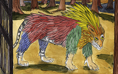 Feathered Tiger, 2010; Watercolor and colored pencil on paper