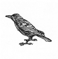 Crow, 2002; Woodblock print