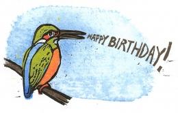 Happy Birthday Kawasemi, 2002; Woodblock print