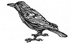 Crow, 2002; Woodblock print