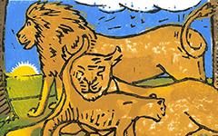 Lions, 2002; Woodblock print